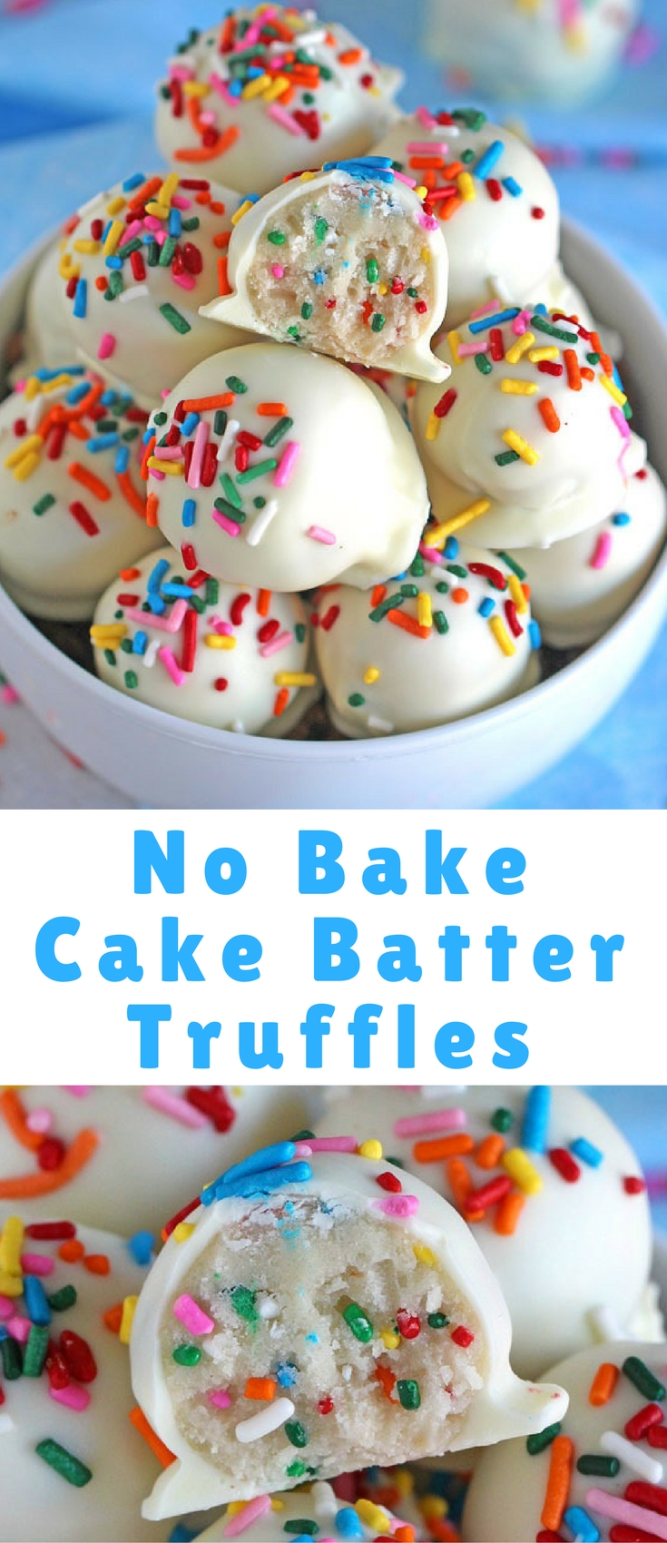 No Bake Cake Batter Truffles are very easy to make using funfetti cake mix. Loaded with lots of sprinkles and dipped in white chocolate, these are delicious.