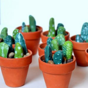 Easy to Make Painted Rock Cactus Centerpieces
