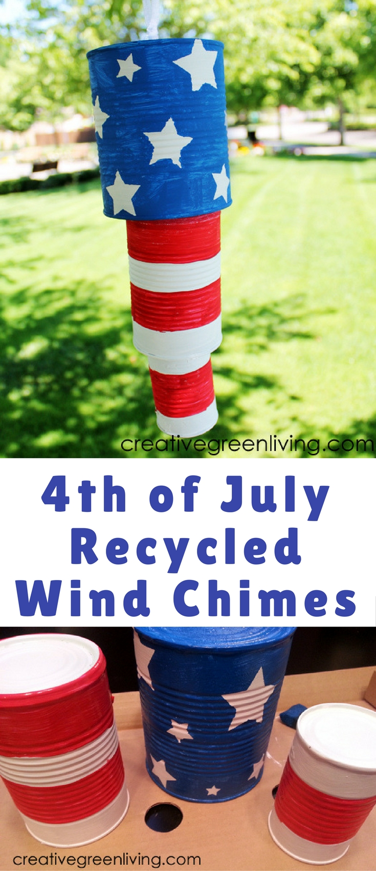 It always happens to me. The Fourth of July sneaks up on my last minute. Every. Single. Year. So I decided to transform some cans into festive Independence Day decor.