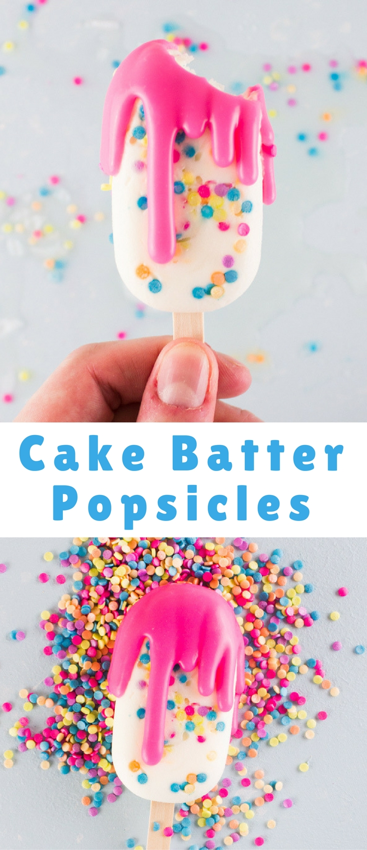 Believe it or not, you read that right. MOSTLY healthy cake batter frozen yogurt popsicles!!
