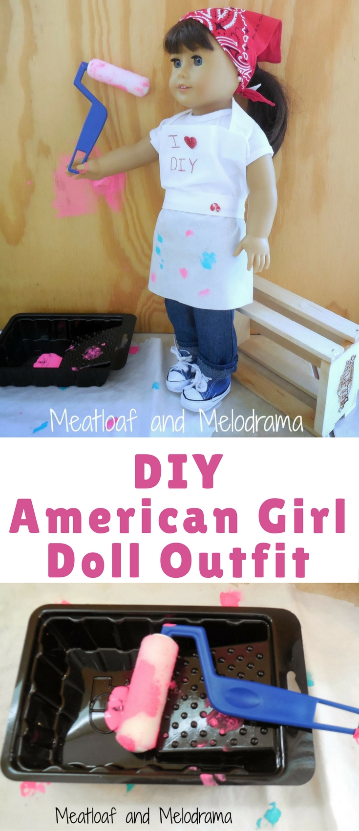 My little helper and I are having a blast creating no-sew clothes for her American Girl Doll. This outfit really wasn't planned, but it was inspired by a recent trip to Home Depot. This is for all the DIYers out there!
