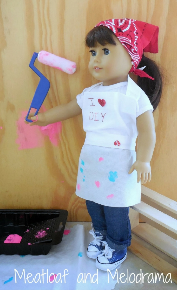 My little helper and I are having a blast creating no-sew clothes for her American Girl Doll.This outfit really wasn't planned, but it was inspired by a recent trip to Home Depot. This is for all the DIYers out there!