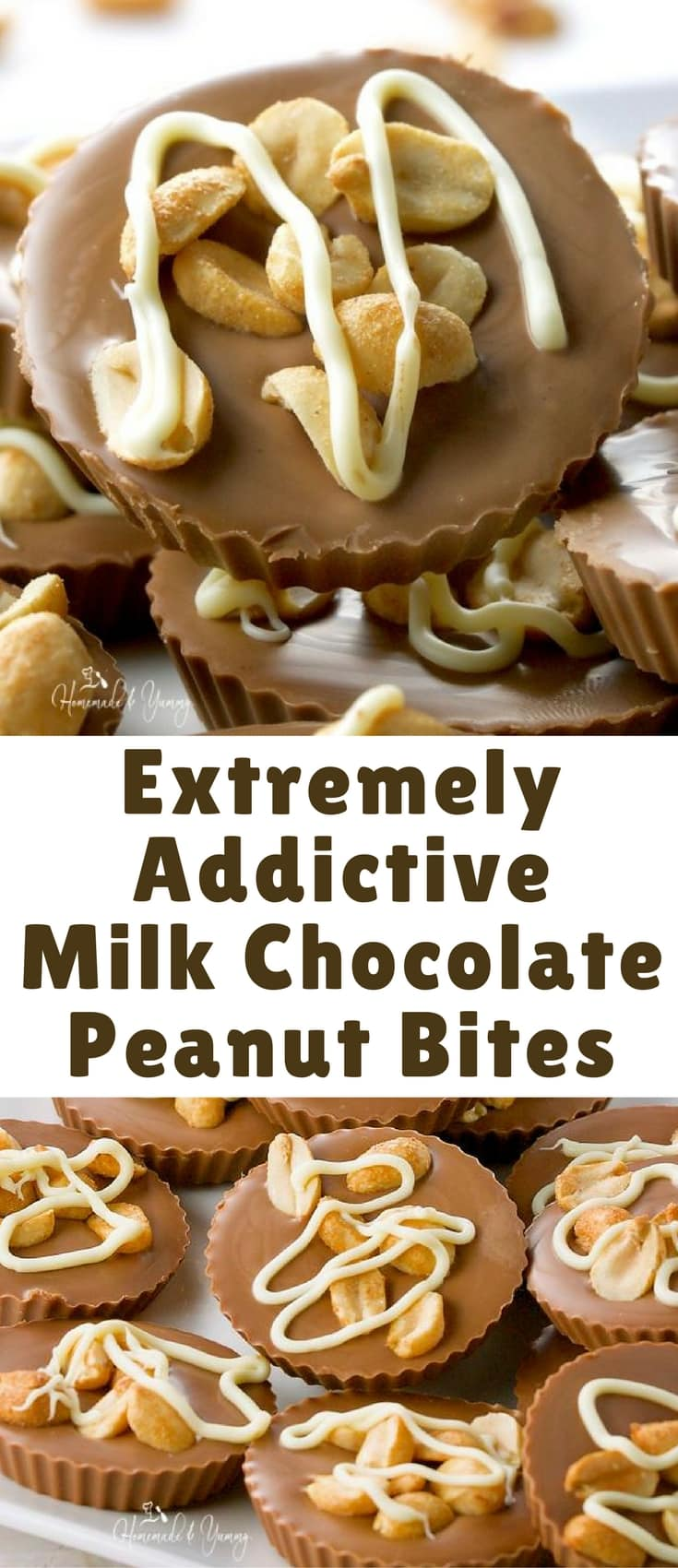 Extremely Addictive Milk Chocolate Peanut Bites are over the top delicious. Sweet, salty, creamy peanut butter flavoured chocolate. Perfect little bites of dreamy goodness. You will eat more than one.