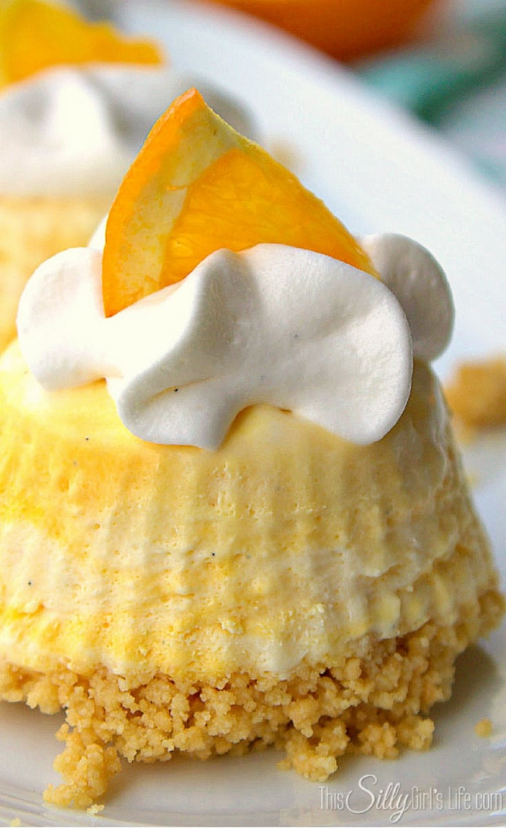 Individual Frozen Creamsicle Pies, mini pies with the flavors of the classic creamsicle, perfect for parties or an anytime treat!