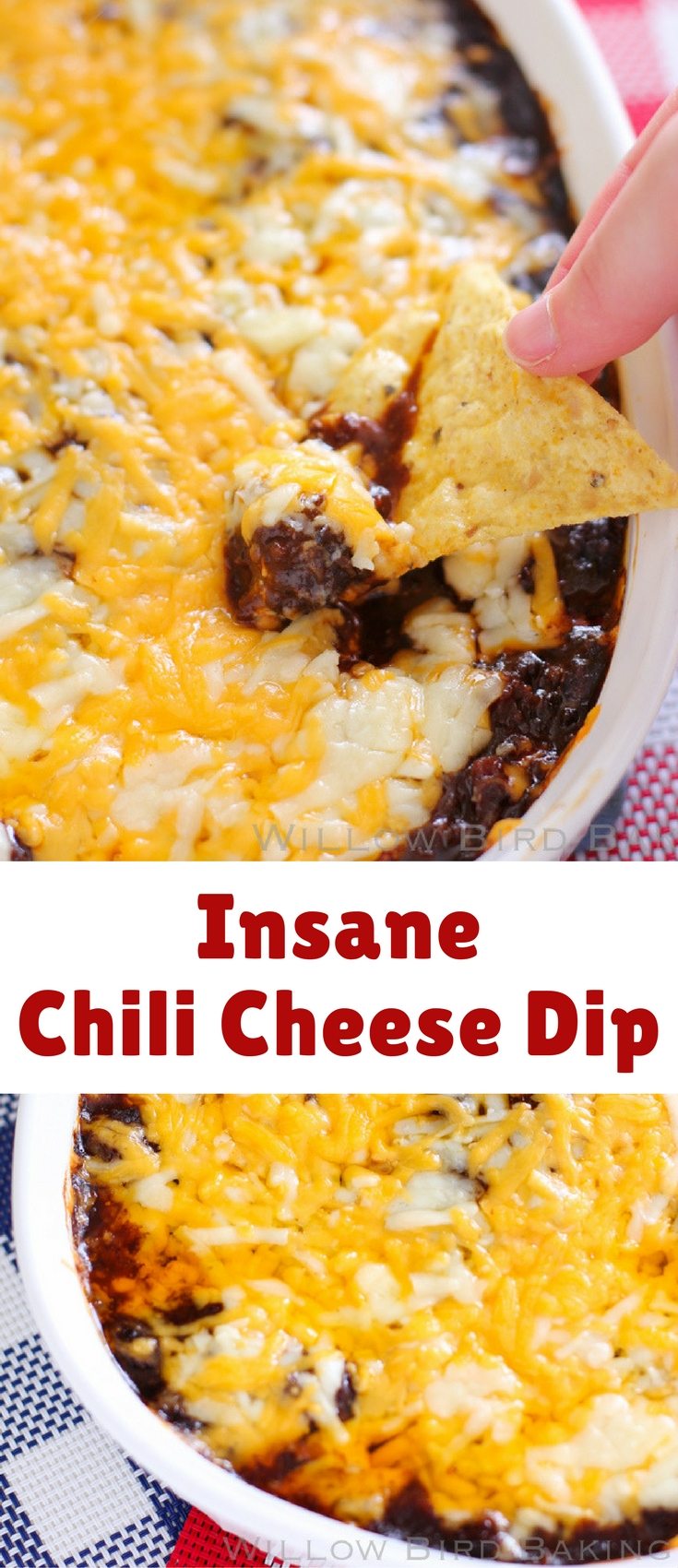 """Want some chili cheese dip to """"encourage"""" your husband or wife to run errands? I got ya covered. This dip was a family favorite when I was little. We used a can of Hormel chili without beans and it took around 15 minutes to whip up — perfect for an emergency last minute dip on game day!"""