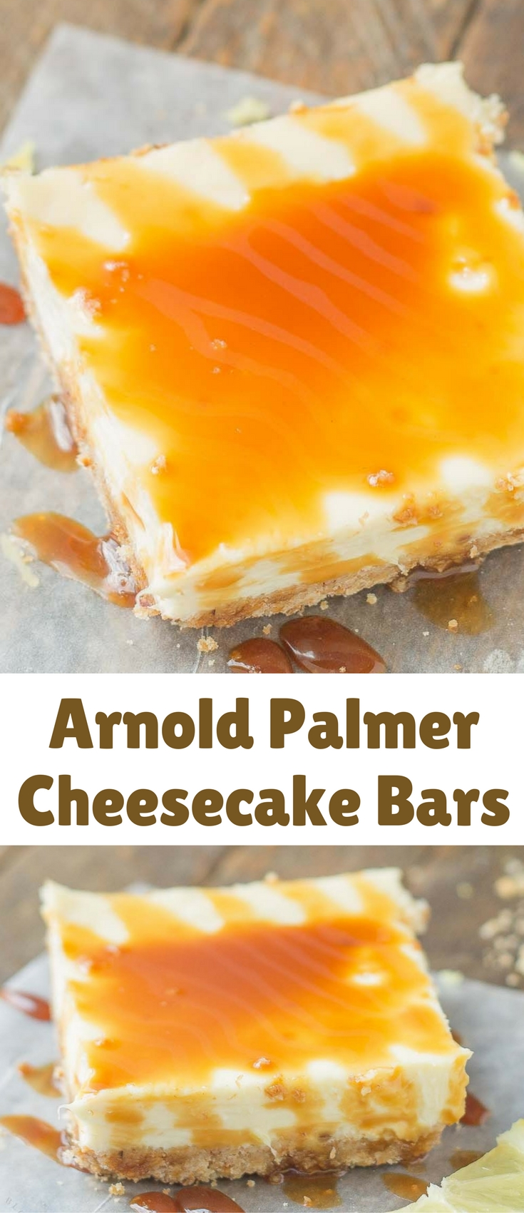 Tangy, tart lemon cheesecake bars are topped with a sweet tea caramel sauce to perfectly marry the two together and create Arnold Palmer Cheesecake Bars. Your favorite way to quench your thirst is now in dessert form!