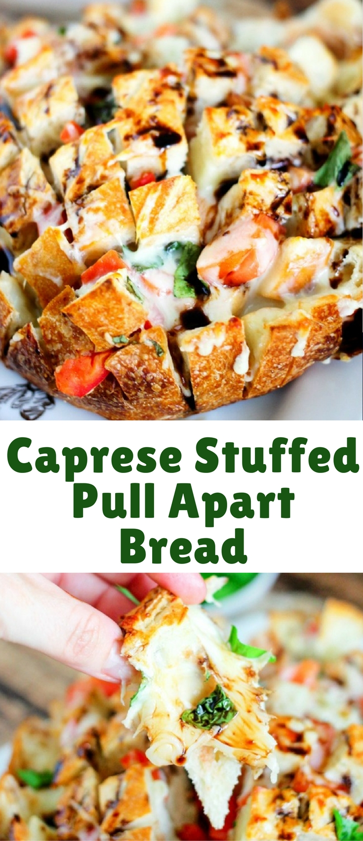Caprese Stuffed Pull Apart Bread is fresh bread stuffed with delicious fresh tomatoes, basil, and mozzarella, then topped with a sweet and tangy balsamic glaze!