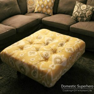 DIY Tufted Ikea Ottoman from Upcycled Pallet with Tutorial