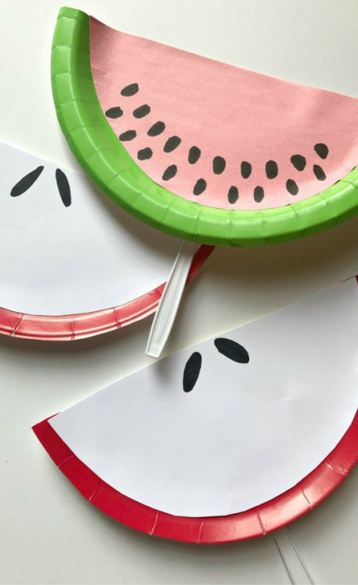 Dig into your craft box and get ready for this easy kid approved summer craft! These Fruit Slice Paper Plate Fans are a big hit and are actually a great fan for the summer heat!