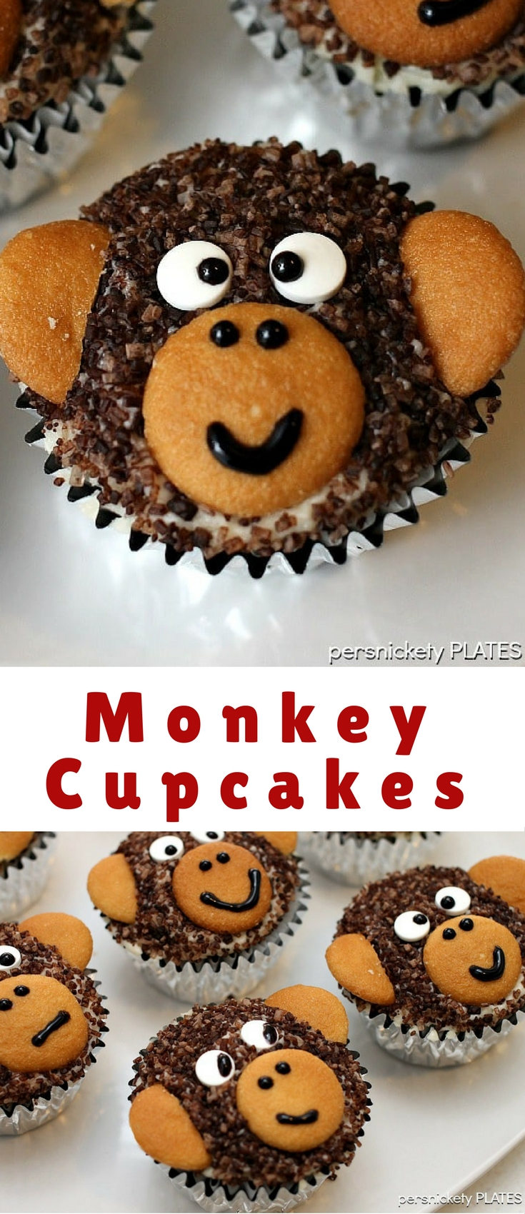 """Monkey Cupcakes! Homemade chocolate cupcakes with chocolate sugar """"fur"""" and vanilla wafer ears! Perfect for a monkey themed birthday party!"""
