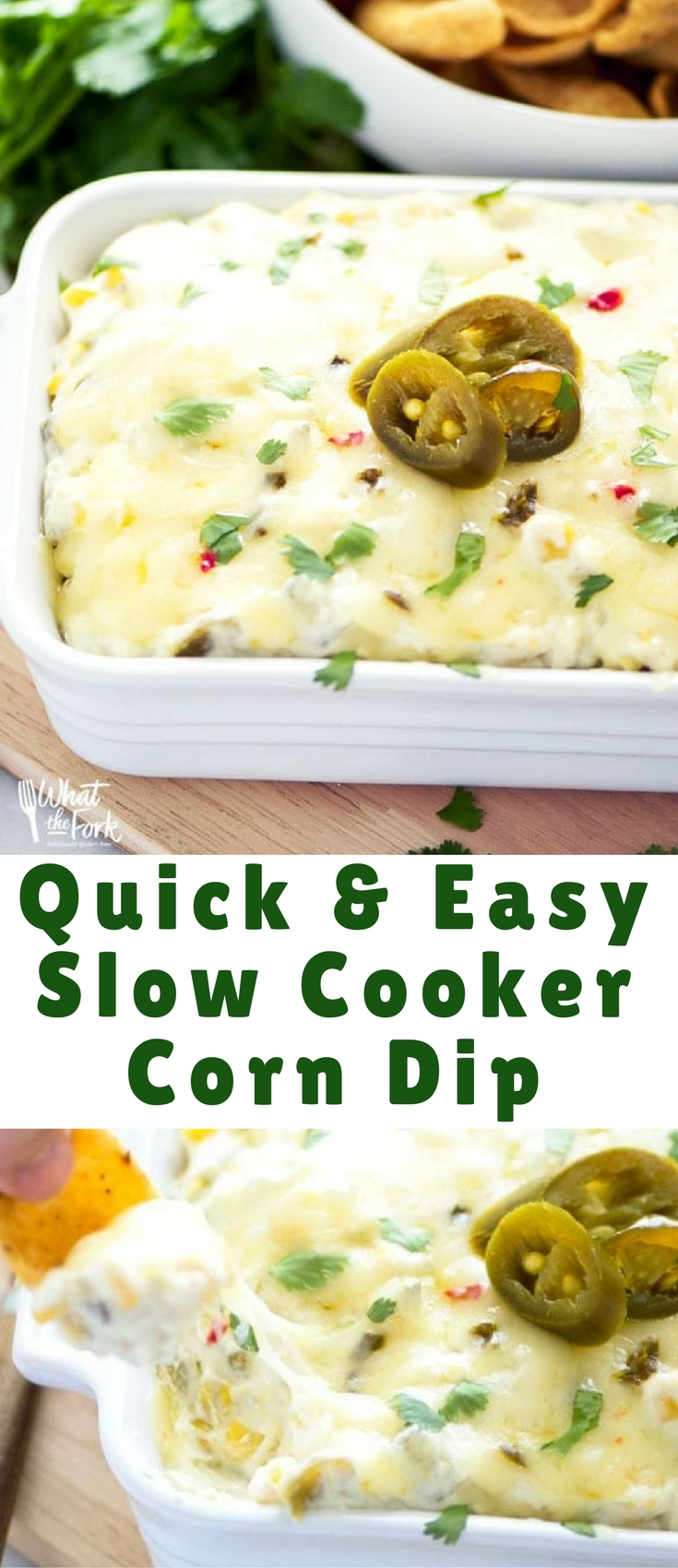This super quick and easy slow cooker corn dip packs some major flavor with minimal ingredients – it's sure to be a hit at your next party!