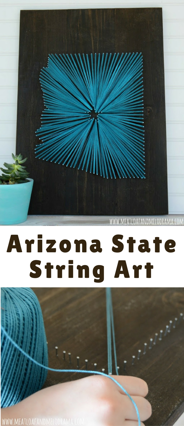 Hi friends! Do you like string art projects? I know it's been popular for a while now, but I just decided to try it out in our home. I decided to make some Arizona state string art, and I love how it turned out!