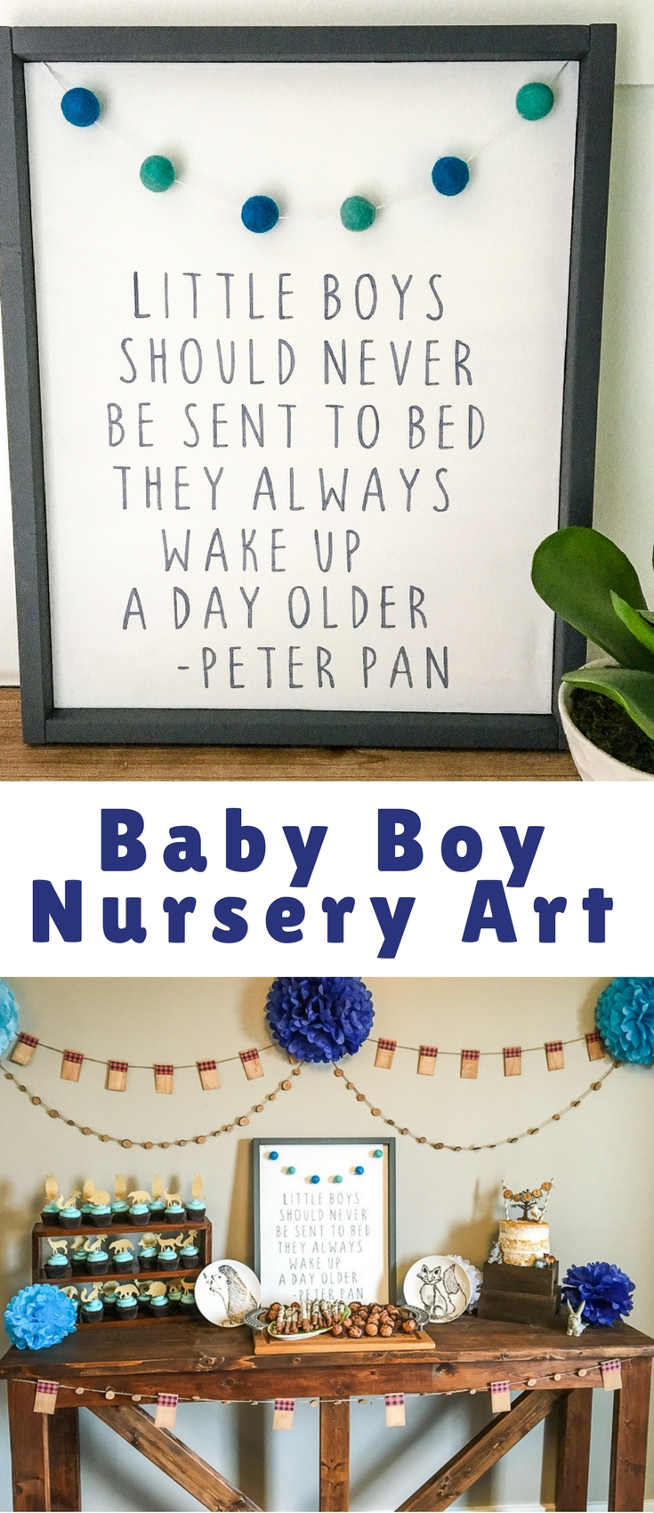 I'm pretty much a fan of anything that does double-duty and is simple to create, like this baby boy nursery art! I used it as the centerpiece of the dessert table as decoration and then it also doubled as a gift for my nephew's new nursery.