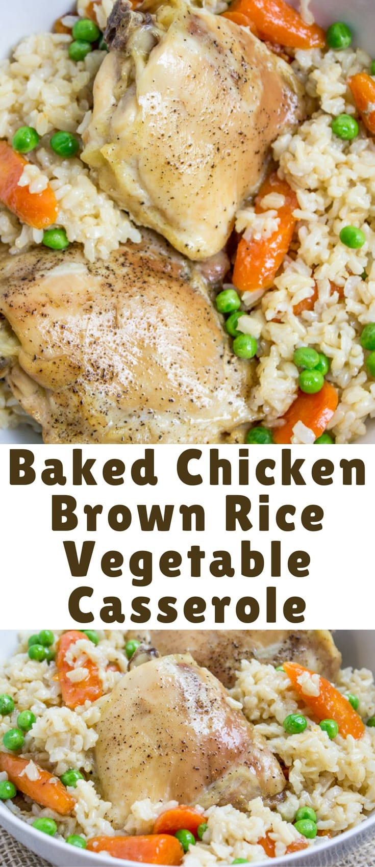 One Pan Baked Chicken Brown Rice Vegetable Casserole, served with Carrots and Peas, is healthy, flavorful and involves almost no clean-up! Read more at: Baked Chicken Brown Rice Vegetable Casserole http://dinnerthendessert.com/one-pan-baked-chicken-brown-rice-vegetable-casserole/