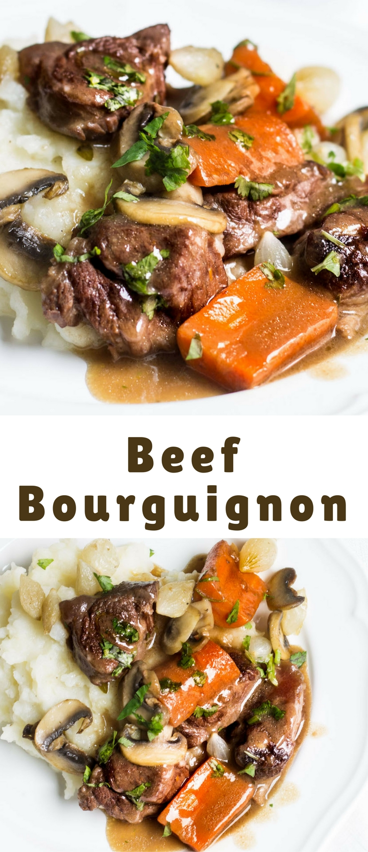 Beef bourguignon is a stew consisting of beef that has been slow-cooked in red wine, beef broth, and infused with the flavors of garlic, onion, and herbs.
