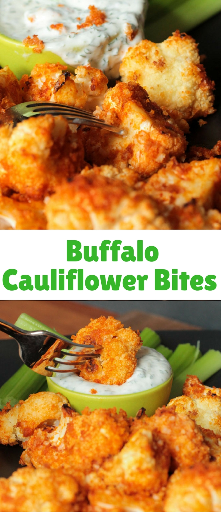 Buffalo Cauliflower Bites – a meatless version of your favorite buffalo wings. No breading station required – these are so easy!!