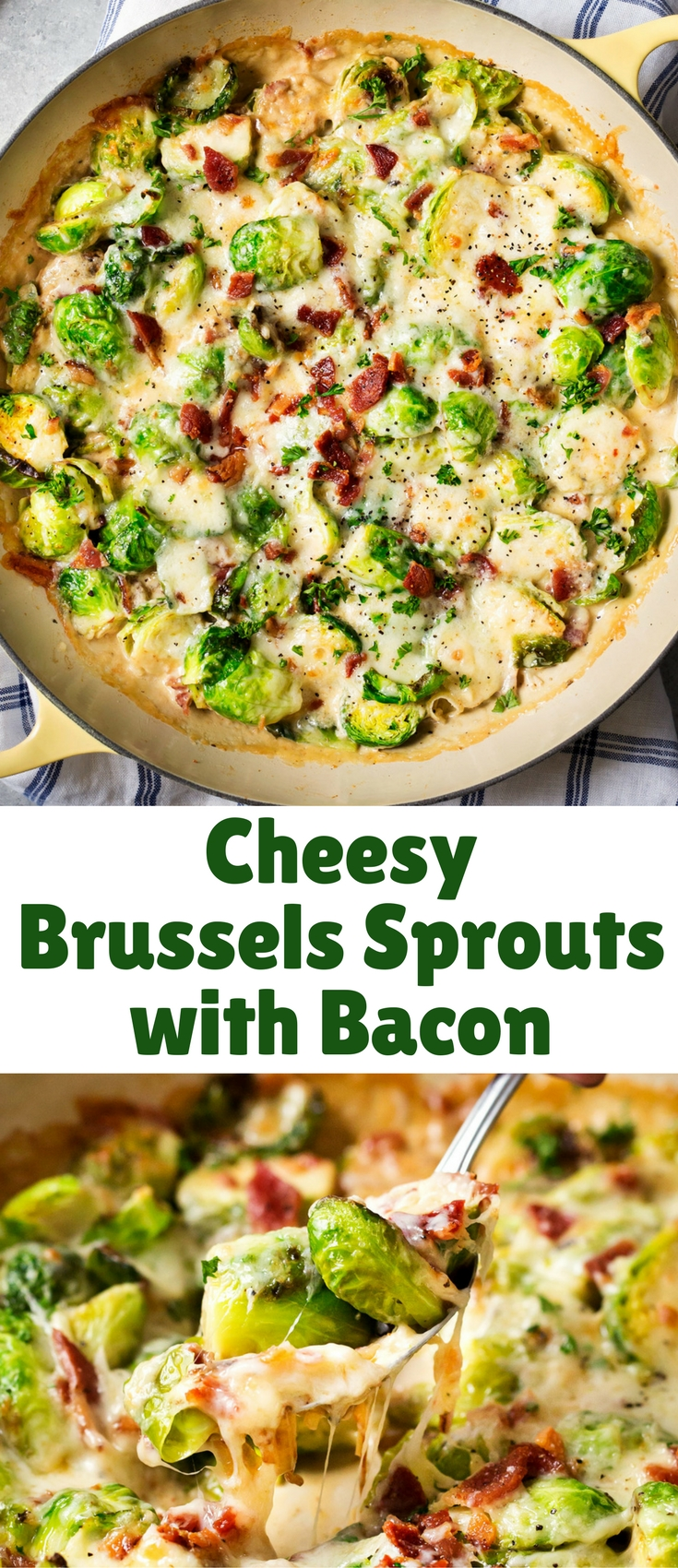 Even if you think you don't like them, these cheesy Brussels sprouts with bacon will definitely change your mind! Cheesy, creamy, and FULL of flavor!