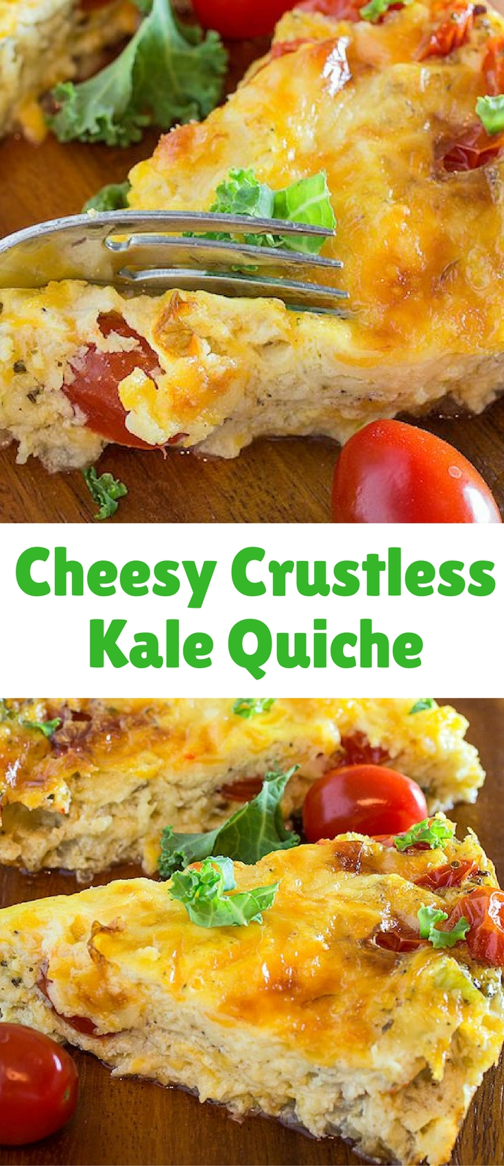 Cheesy Crustless Kale Quiche is the perfect gluten free brunch recipe! It's rich, filling, and bursting with southwestern flavors.