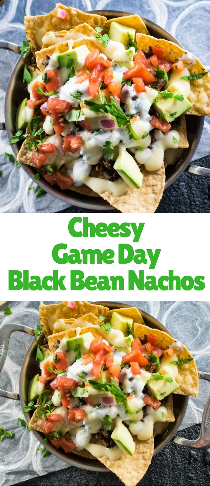 These vegetarian black bean nachos are topped with a creamy cheese sauce to ensure tasty goodness in every bite!