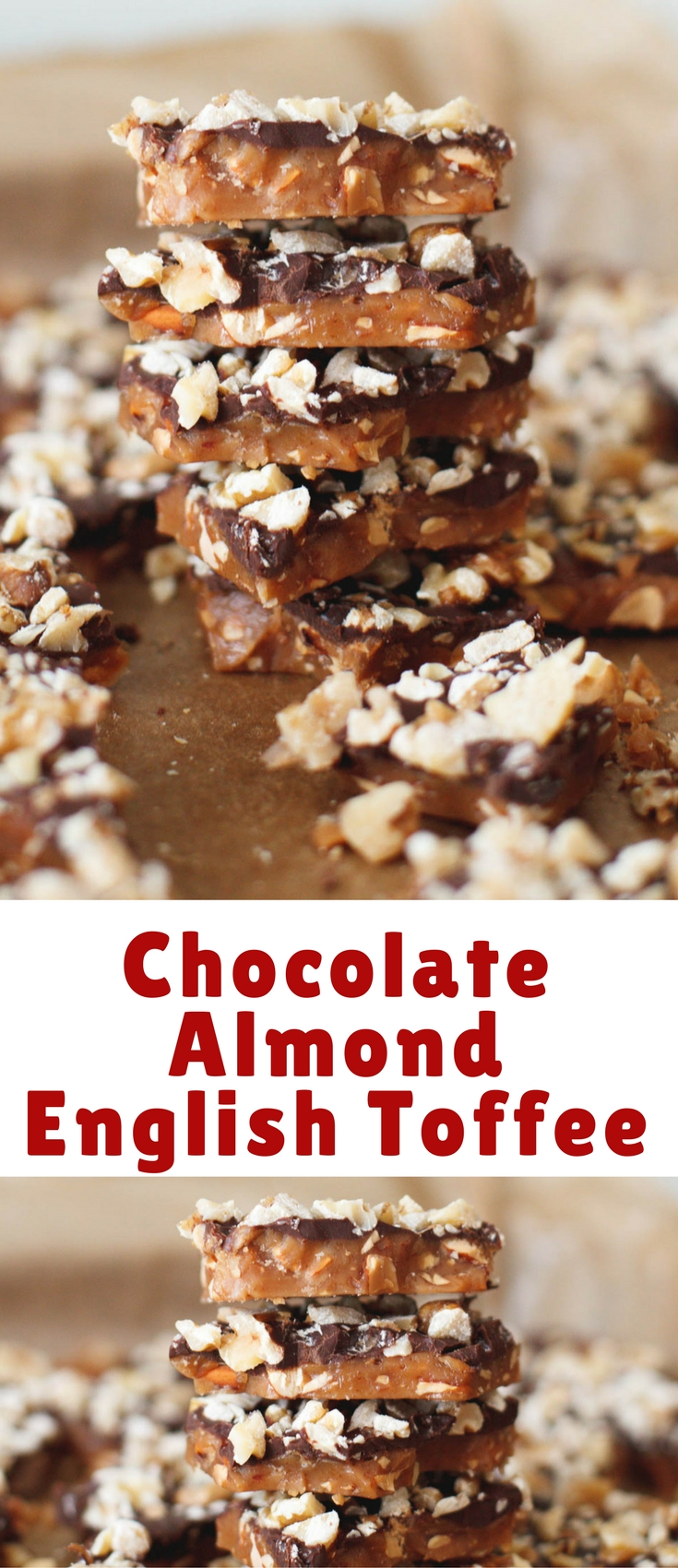 This recipe is a highly addicting, deeply buttery toffee crunch with roasted almonds scattered throughout and a layer of chocolate and walnuts on top.