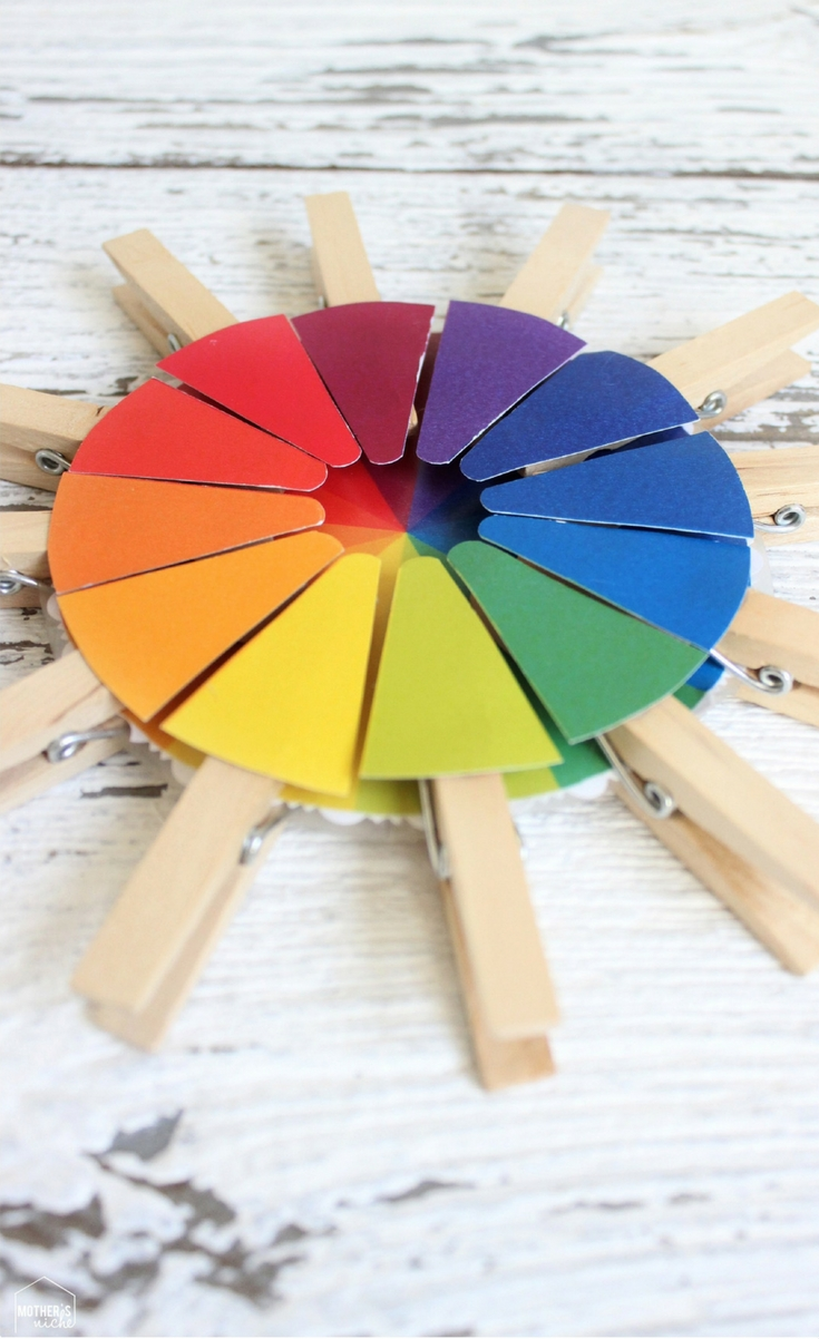 A color wheel is a fantastic and fun way to teach colors, blending colors, primary and secondary colors, complementary colors. With the use of the clothes pins it also teaches fine motor skills. This can be an activity the kids can grow with, continually teaching new skills according to the child's age.