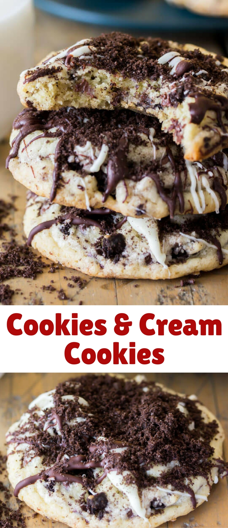 It's cookie inception! These cookies & cream cookies are made of simple vanilla chocolate chip cookies that have been crammed full of Oreo pieces, and then topped off with dark chocolate, white chocolate, and cookie crumbs!