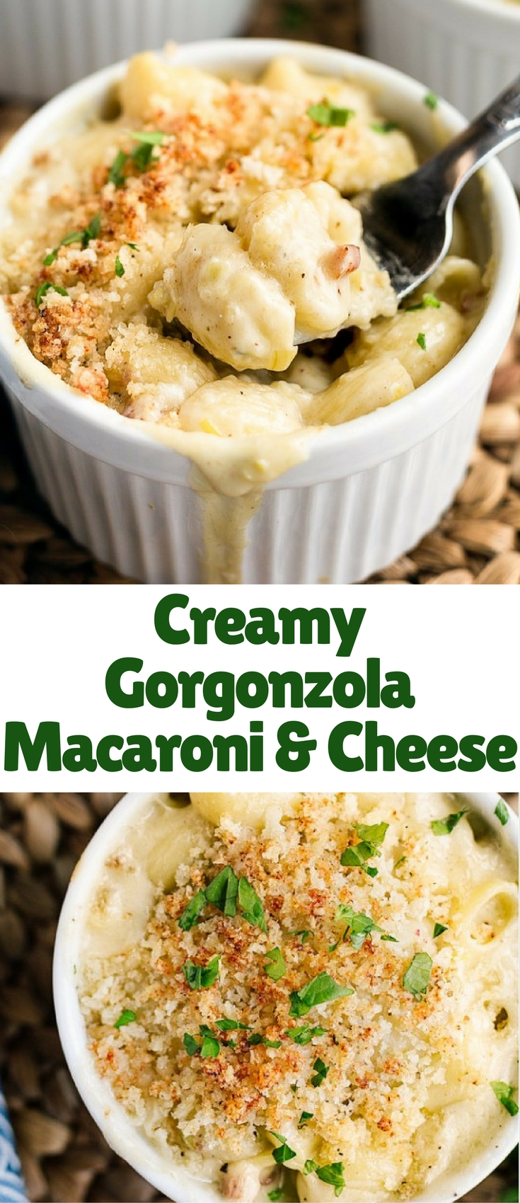 Creamy Gorgonzola Macaroni and Cheese with sweet caramelized leeks, salty pancetta, and a blend of three rich cheeses is an elegant twist on a comfort food classic. Don't forget the cheesy, crunchy, buttery bread crumbs on top!
