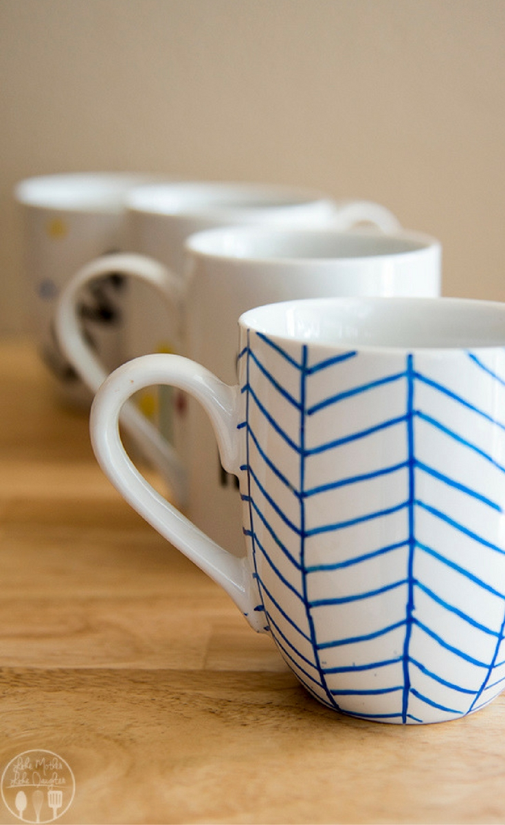 Decorate your own DIY personalized mugs at home with Sharpie Paint Markers to have your designs, for a fun cup to drink from, great gift or for a special day!