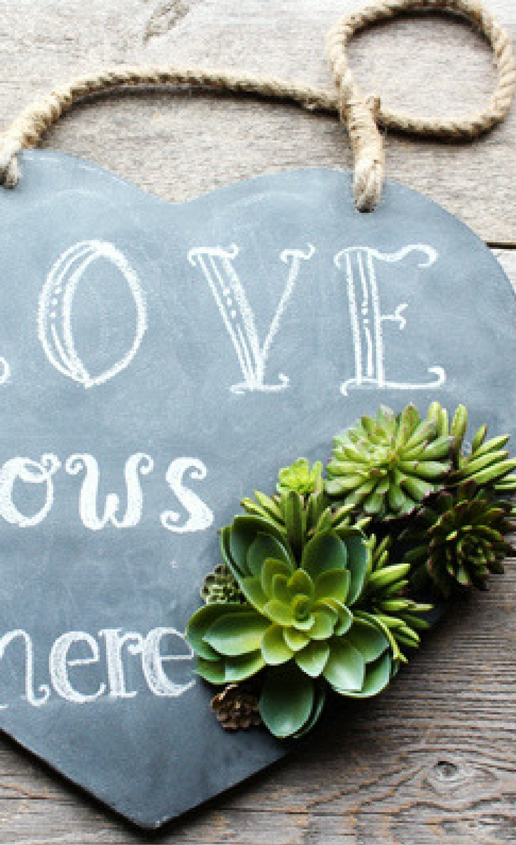 Spring is on its way and I am ready to get all things green and growing integrated into my decor! On my front door, I have this great heart chalkboard instead of a wreath.