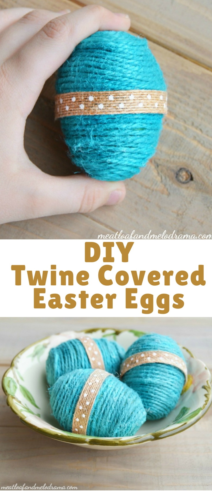 Diy twine covered Easter eggs are easy to make and add a fun rustic touch to your Easter and Spring decor. Grab some cheap plastic eggs from the Dollar Store or reuse old eggs that you already have, and you're good to go!