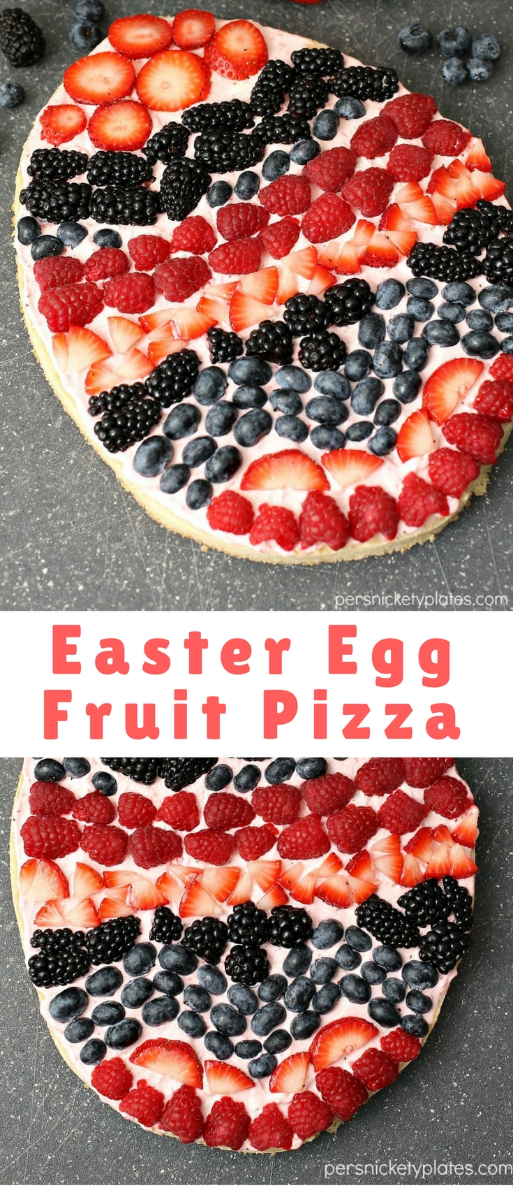 """A festive Easter egg sugar cookie fruit """"pizza"""" with strawberry cream cheese frosting. You can make it super simple with a sugar cookie mix or make it from scratch."""
