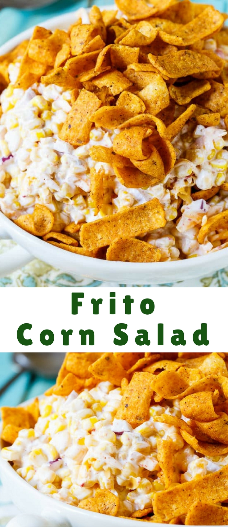 Frito Corn Salad is wonderfully creamy with lots of shredded cheddar cheese and crunchy, salty Frito corn chips. Great for summer potlucks and picnics!