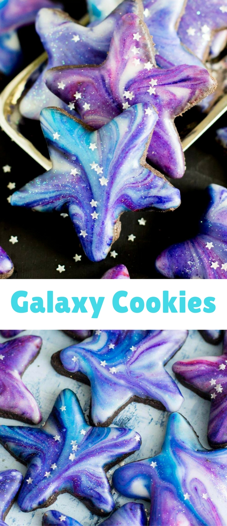 Galaxy Cookies: Star shaped cutout cookies with a galaxy glaze