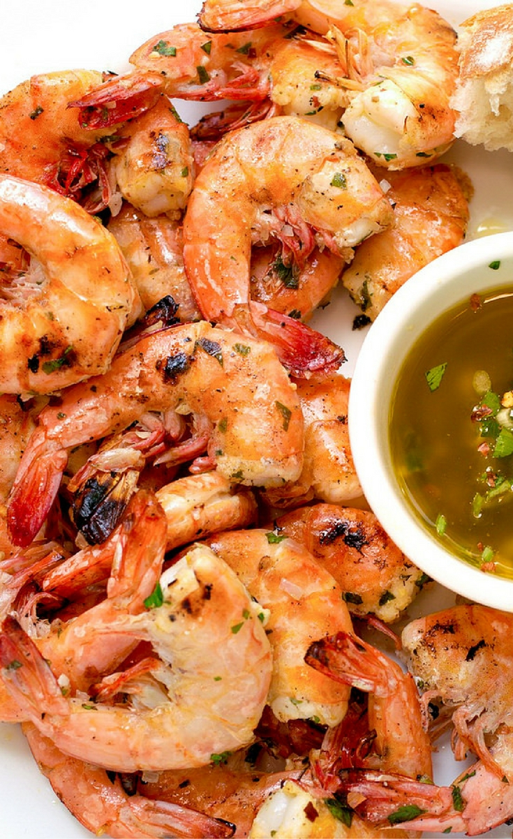 Lightly-charred shells gave way to luscious, marinated shrimp, served with warm, scallion-studded Lemon-Garlic Butter in this Grilled Shrimp Scampi.