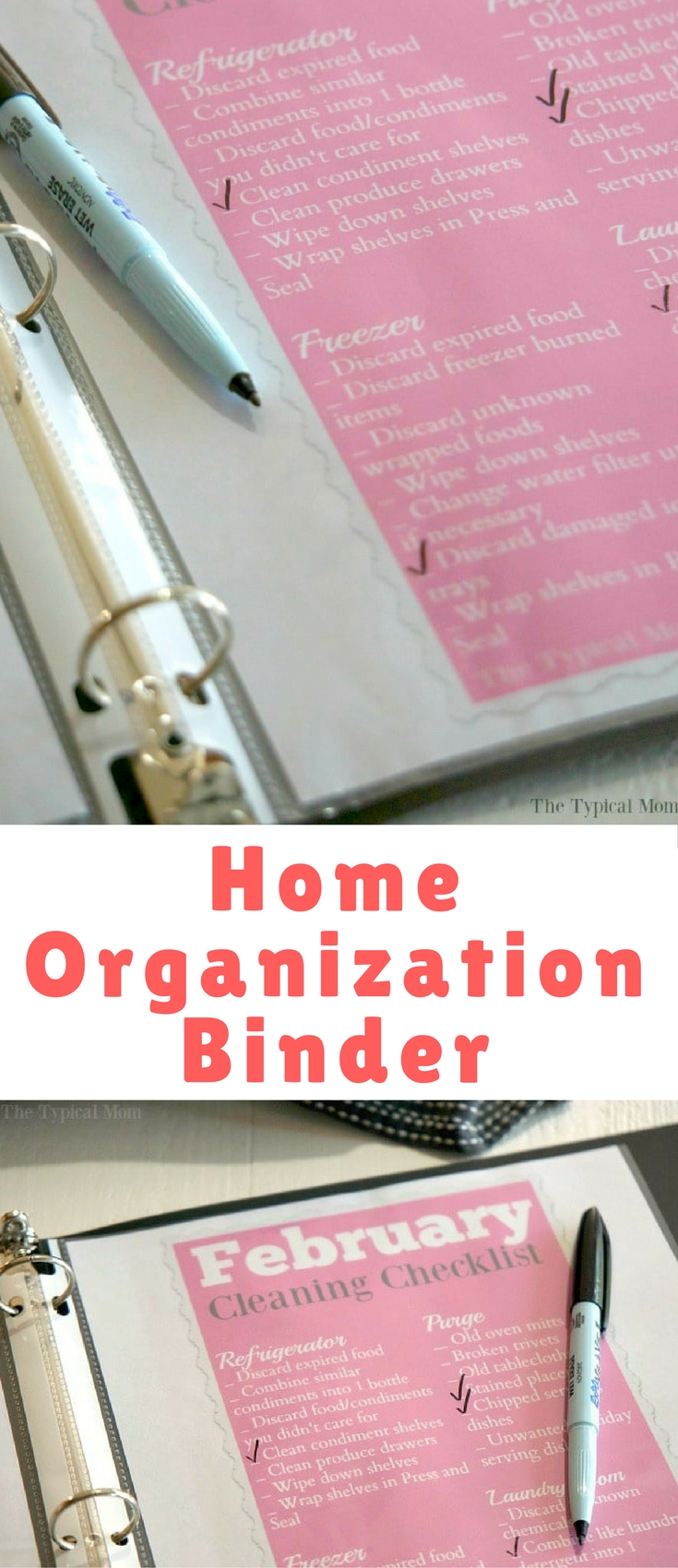 I created a home organization binder to keep them in and check off what I've done so I knew what was left to do that month. Wipe it off at the end of the month using wet erase markers and it would be ready for next year when that month arrived again. Here's how easy it was to create and what you'll need to make one yourself!