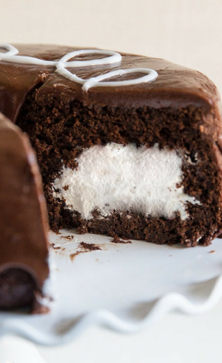 A rich chocolate cake with marshmallow filling, lots of chocolate frosting, and that irresistible white squiggle. Your favorite childhood treat, upgraded!