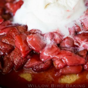 Hot Strawberry Cake with Ice Cream