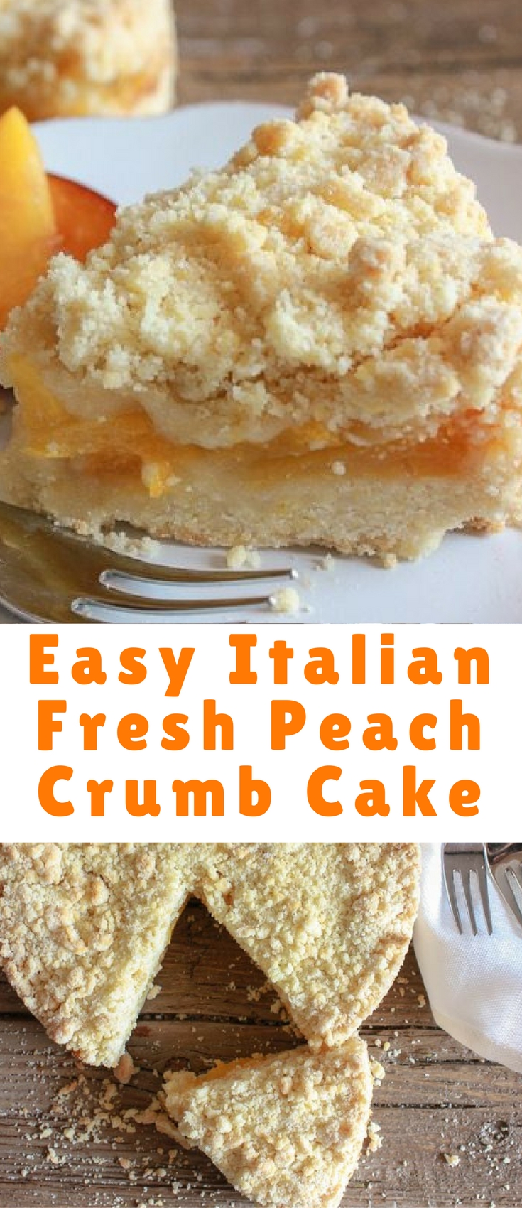 EASY ITALIAN FRESH PEACH CRUMB CAKE, MADE WITH FRESH OR CANNED PEACHES, A DELICIOUSLY BUTTERY CRUMB BOTTOM AND TOPPING, FILLED WITH AN AMAZING PEACH FILLING. THIS ITALIAN FRESH PEACH CRUMB CAKE IS THE PERFECT ANYTIME DESSERT!