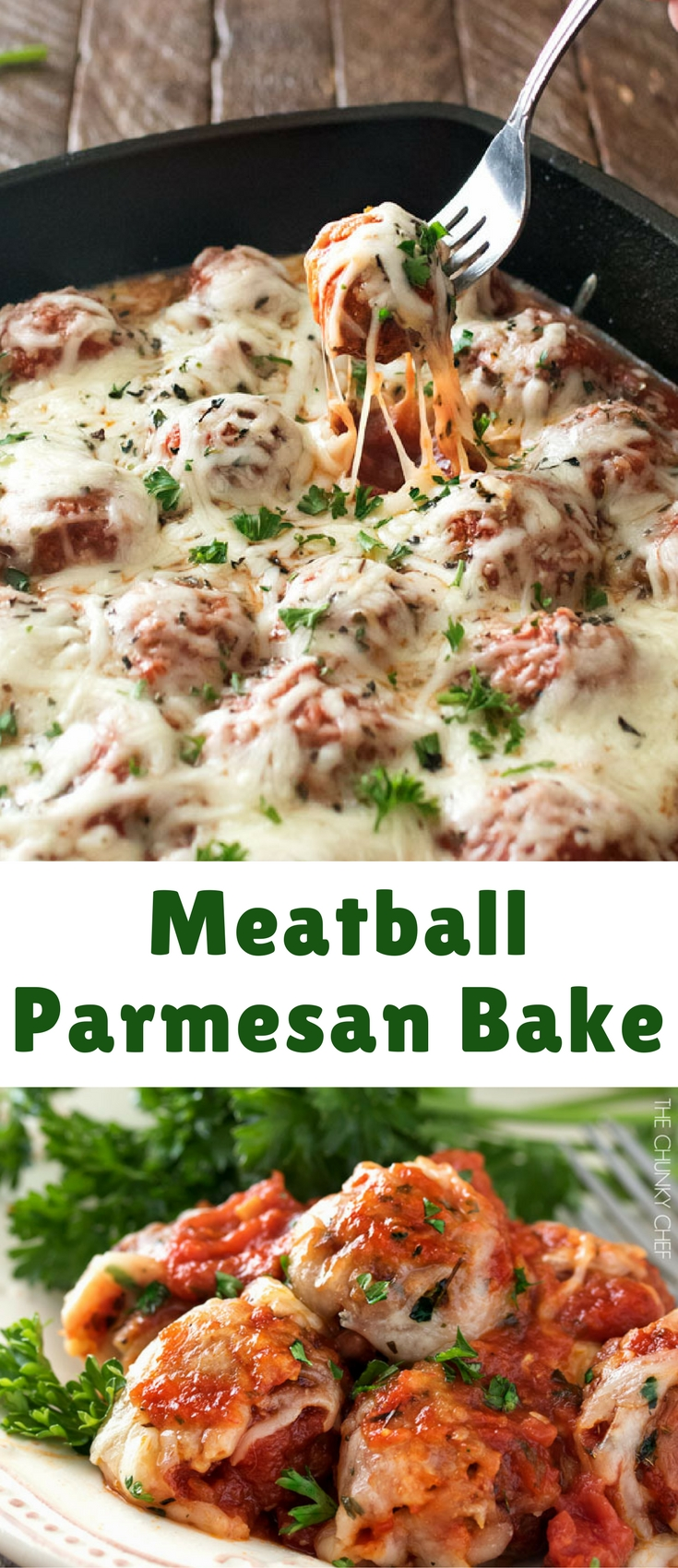 This hearty meatball Parmesan bake combines homemade meatballs, marinara, and Italian cheeses in one skillet or pan. Perfect for subs, pasta, and more!