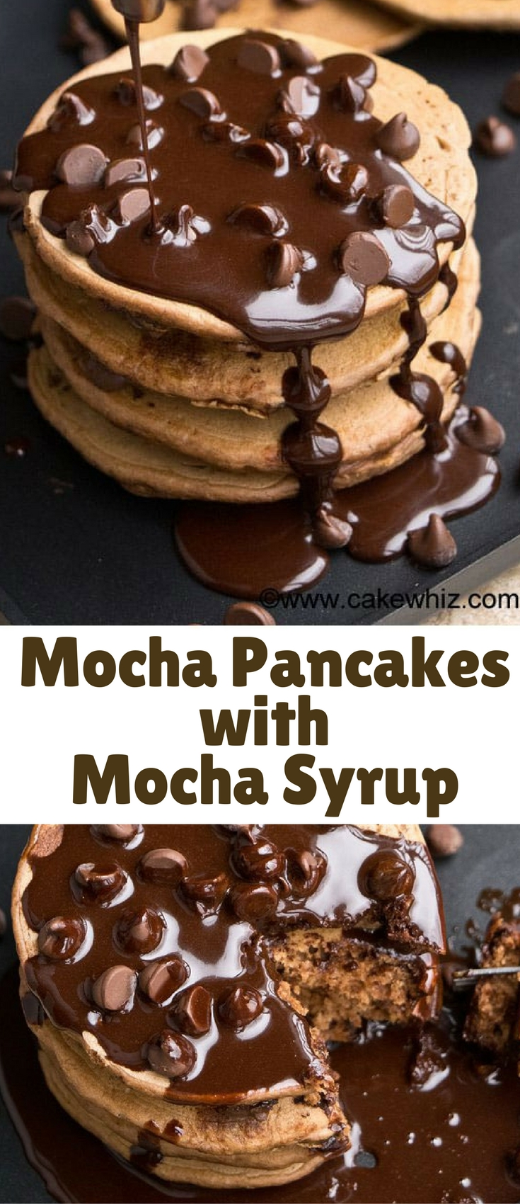 These easy mocha pancakes with mocha syrup are soft and fluffy. Prefect for breakfast or dessert and packed with chocolate and coffee flavors.