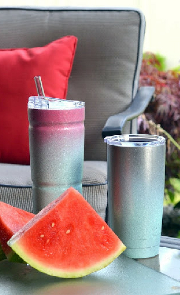 They are great at keeping your cold drinks cold and your hot drinks hot. So why not take some spray paint and spray glitter and give them some personality. You can even add some vinyl and create a fun image on your cup. I'm so excited to show you how to do it!