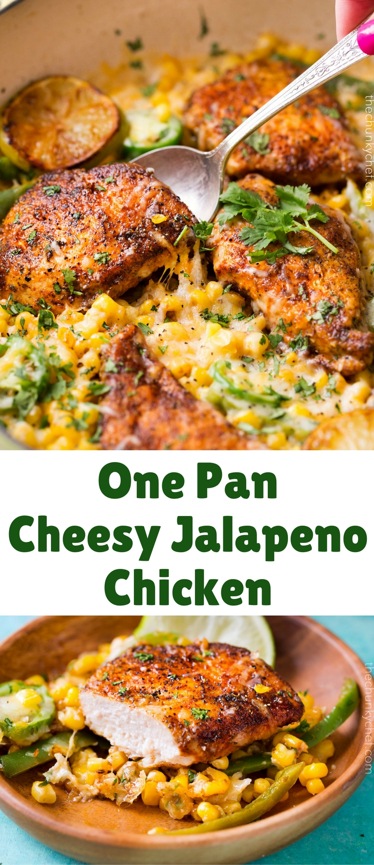 This cheesy jalapeño chicken is made in one pan, is bursting with flavor, smothered in melty cheese, and made in just 20 minutes! Try it tonight!