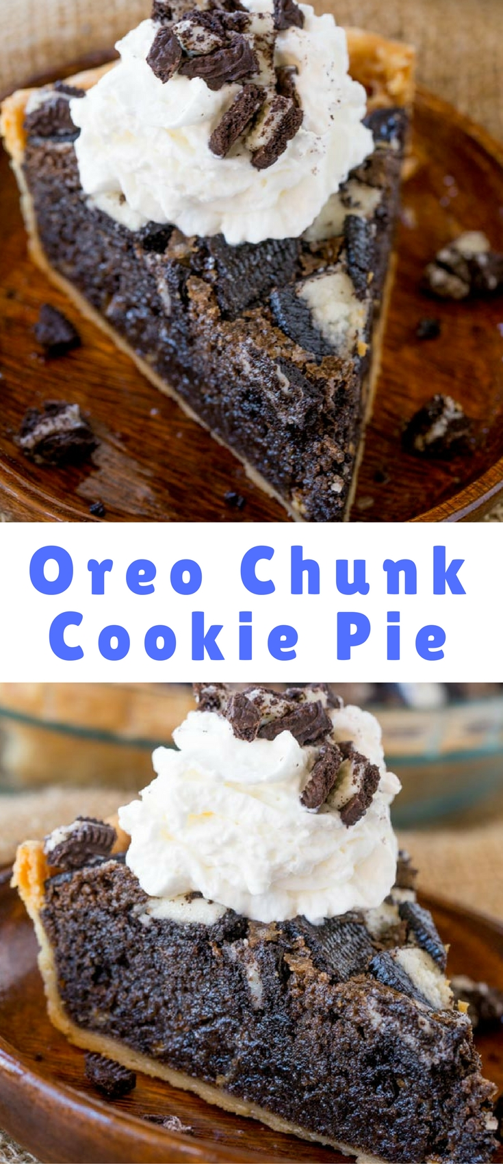 Oreo Chunk Cookie Pie tastes like a delicious, warm, Oreo chunk cookie baked into a buttery crisp pie crust that's half pie and half fresh baked cookie! This recipe is from Dinner, then Dessert. Be sure to scroll down for the direct recipe link.
