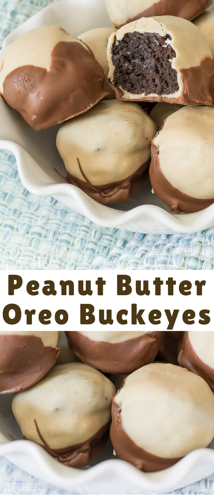Peanut Butter Oreo Buckeyes, peanut butter Oreo truffles dipped in peanut butter coating and milk chocolate!