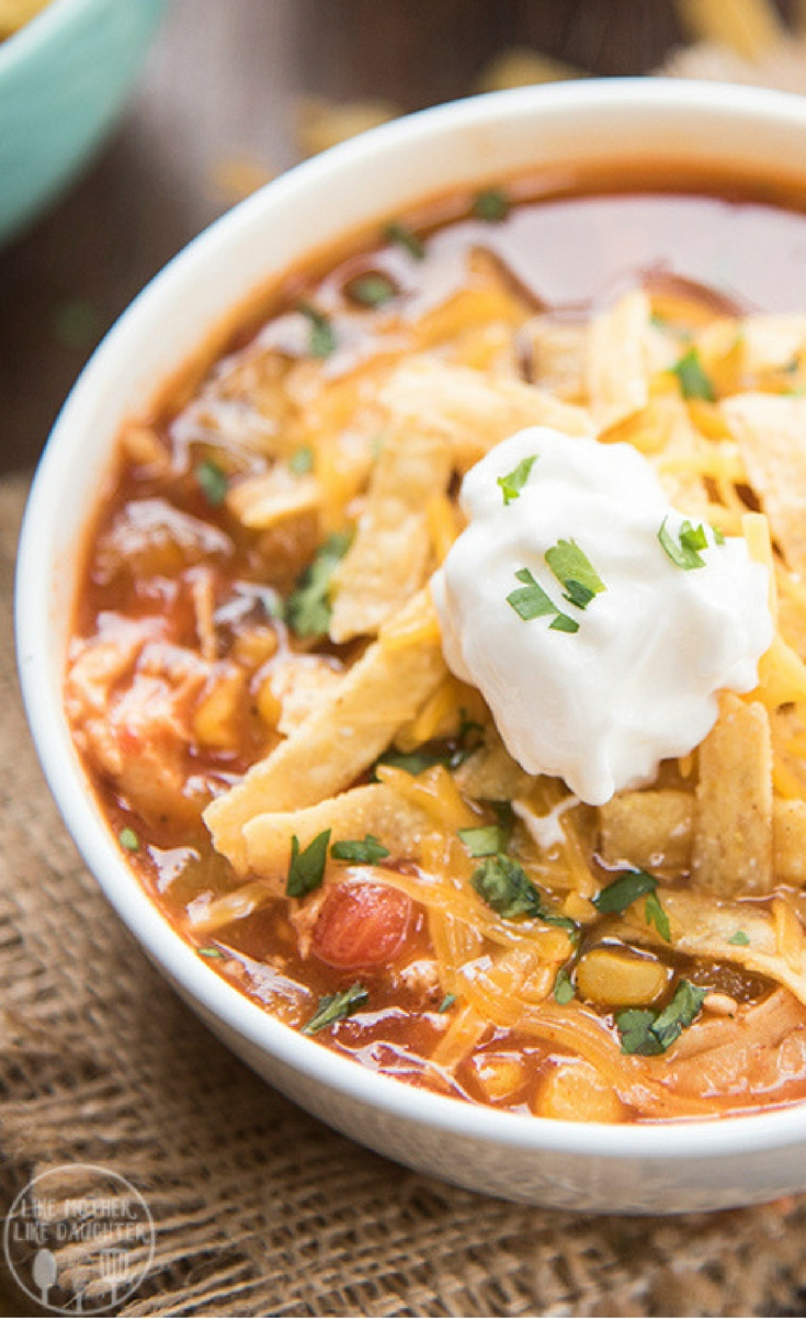 This slow cooker chicken enchilada soup is packed full of flavor, with hardly any work, for a meal that the whole family loves.