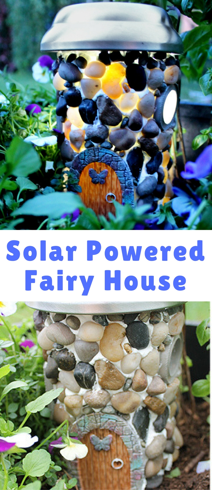 This house is made from recycled materials AND it's solar powered! The solar powered roof collects sunlight during the day - and then at night, the windows will glow! Sweet!