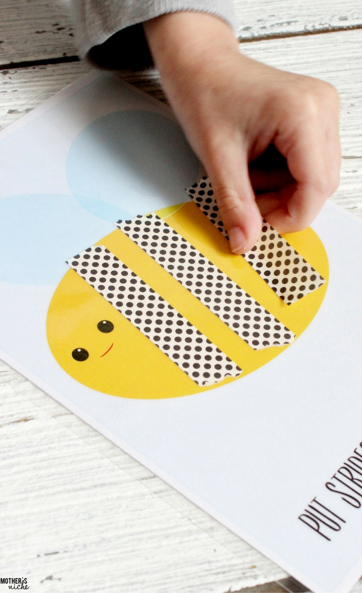 You are going to definitely want to add these adorable games to your toddler and preschool learning activity collection! These are my son's absolute favorites! I designed these activity sheets for the use of Washi paper tape but you could also do the games with play-doh or dry erase markers.