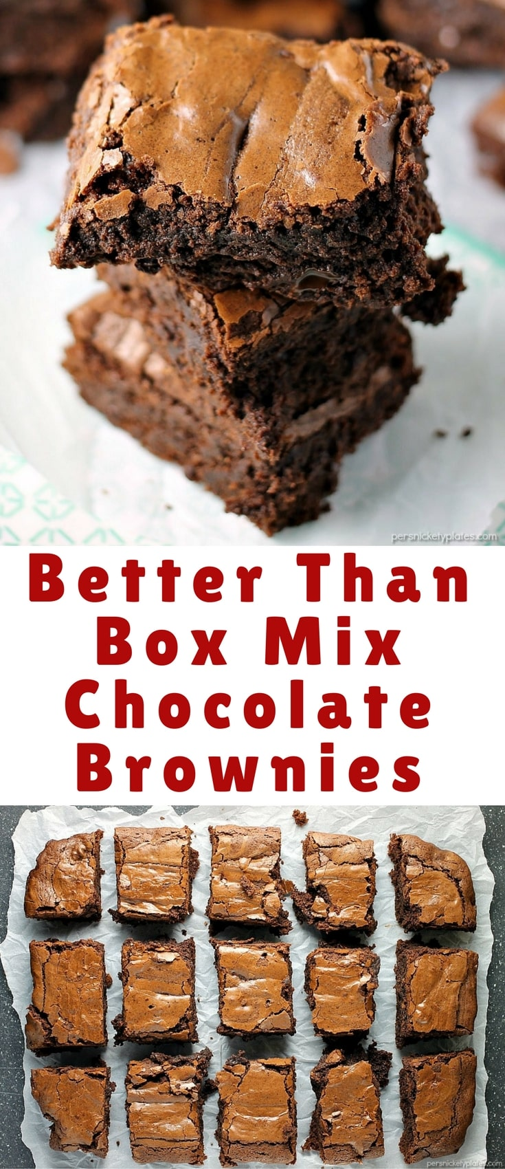 """""""Better Than Box Mix"""" Chocolate Brownies really are better than the box! Why make a box mix brownies when I'll bet you have everything on hand to make these?"""