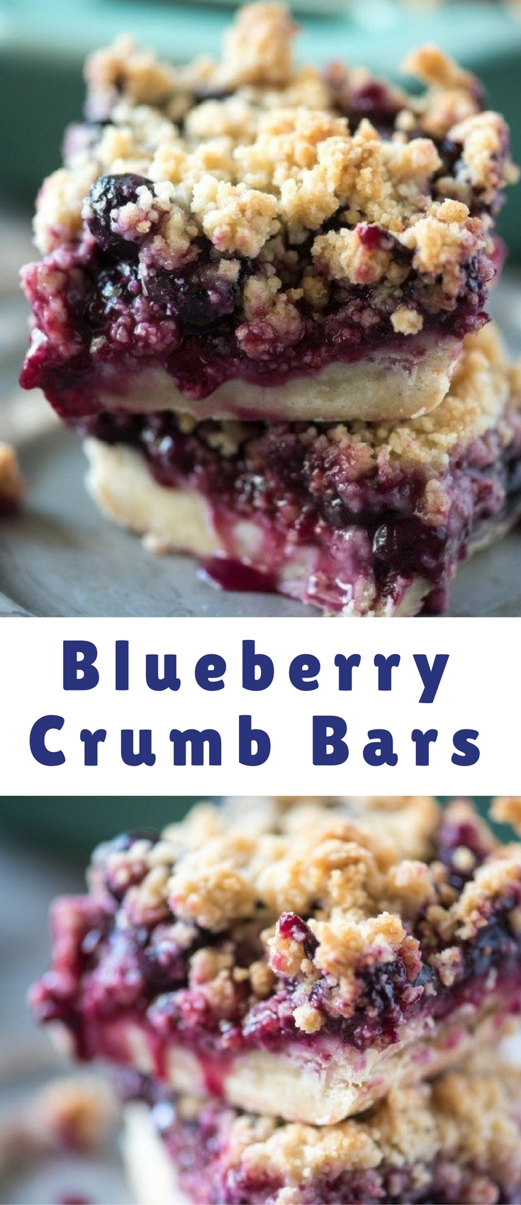These Blueberry Crumb Bars have an easy, press-in pie crust and tons of fresh blueberry filling!