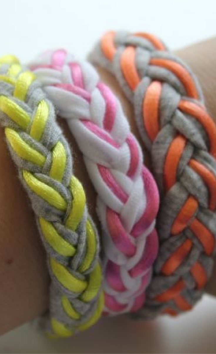 I've braided bracelets before – even a necklace– so I figured how hard could this braided t-shirt bracelet be? Turns out it's pretty easy. Otherwise, let's be honest, I wouldn't have figured it out. And cheap. Yahoo!
